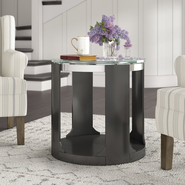 Charly Cracked Glass Round End Table By Latitude Run