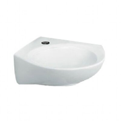 Ceramic 16 Wall Mount Bathroom Sink with Overflow American Standard Faucet Mount: Single Hole