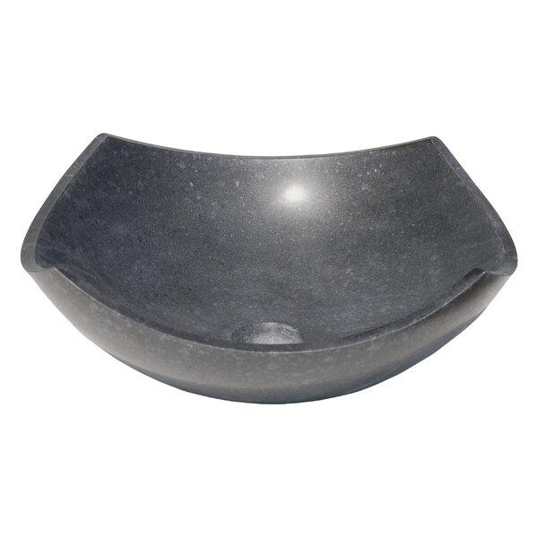 Arched Edges Bowl Honed Basalt Square Vessel Bathroom Sink by Eden Bath