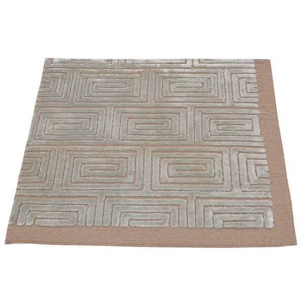 One-of-a-Kind Huggard Embossed Hand-Knotted Taupe Area Rug by Mercer41
