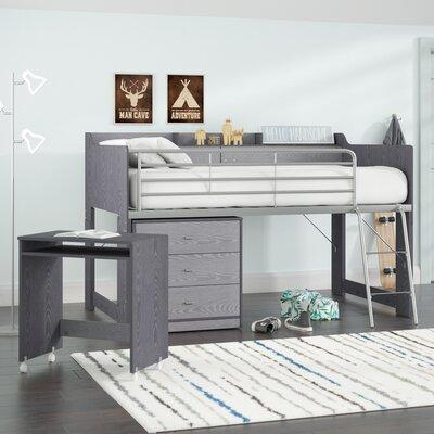 loft bed with desk and dresser wayfair. Black Bedroom Furniture Sets. Home Design Ideas