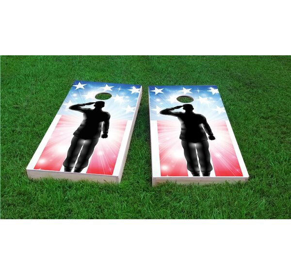 American Flag Soldier Salute Cornhole Game Set by Custom Cornhole Boards