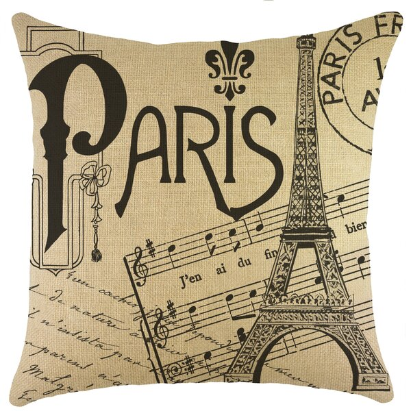 Paris Burlap Throw Pillow by TheWatsonShop