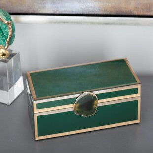 Compare Wood/Glass Agate Jewelry Box By Cole & Grey