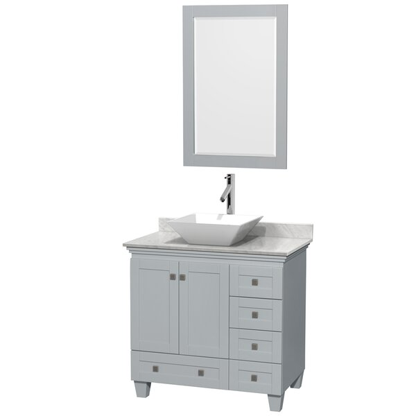 Acclaim 36 Single Oyster Gray Bathroom Vanity Set with Mirror by Wyndham Collection