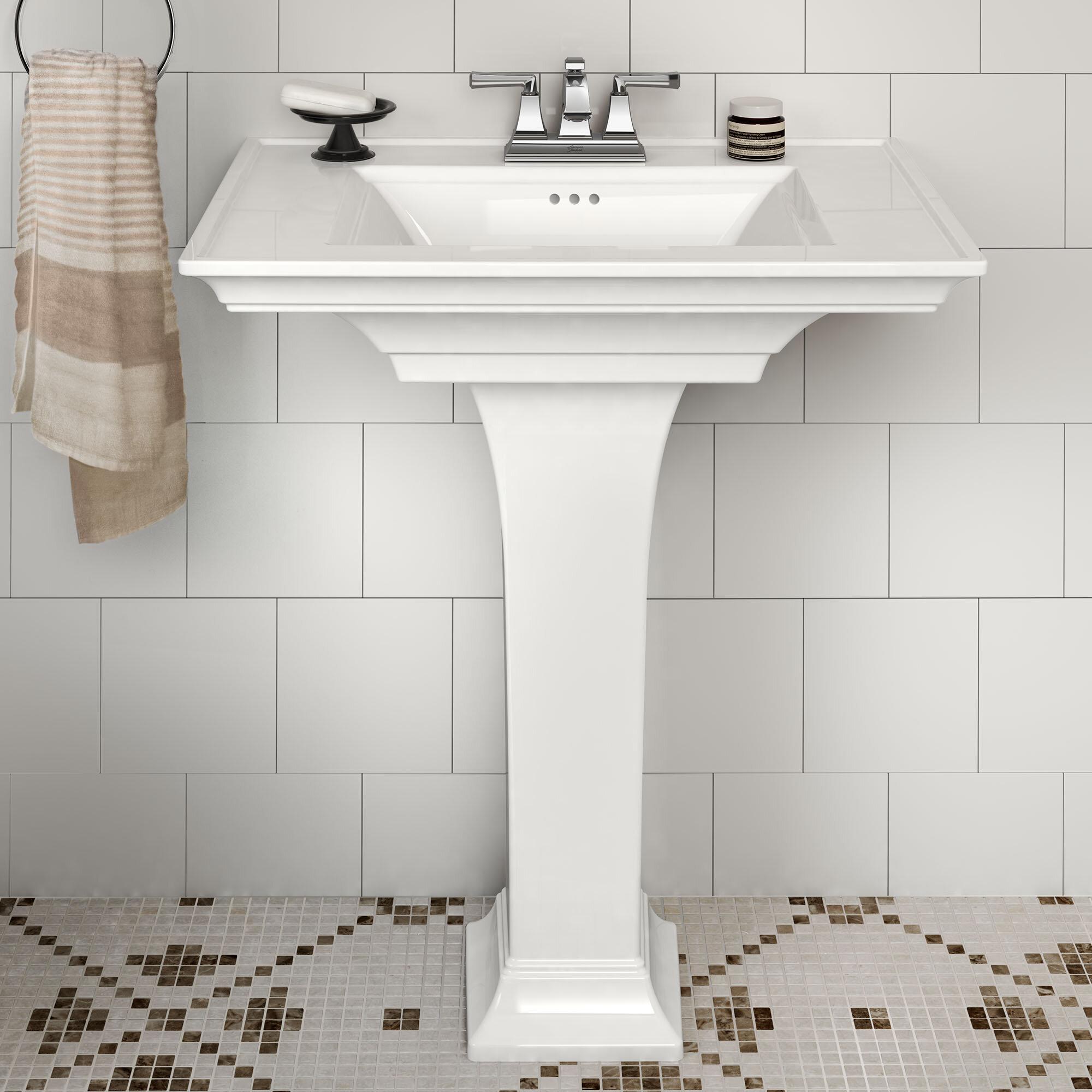 American Standard Town Ceramic Rectangular Pedestal Bathroom Sink