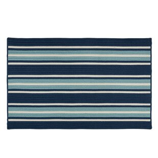 Madalynn Stripe Shoreline Hand-Braided Blue Indoor/Outdoor Area Rug By Breakwater Bay