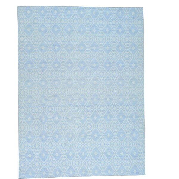 Flat Weave Reversible Durie Kilim Oriental Hand-Knotted Blue Area Rug by Bloomsbury Market