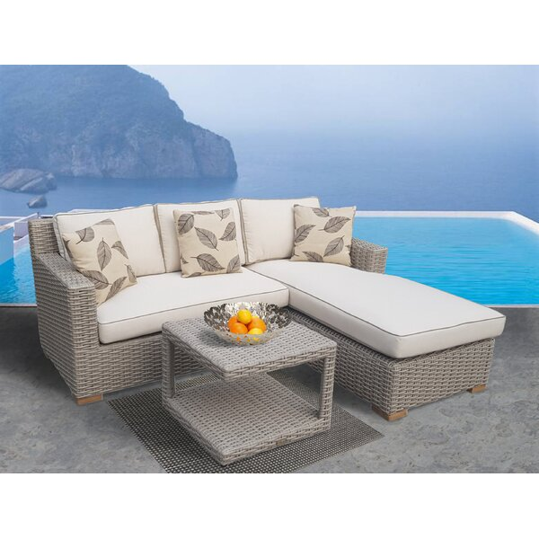 Glover 3 Piece Sunbrella Sectional Set with Cushions by Bayou Breeze