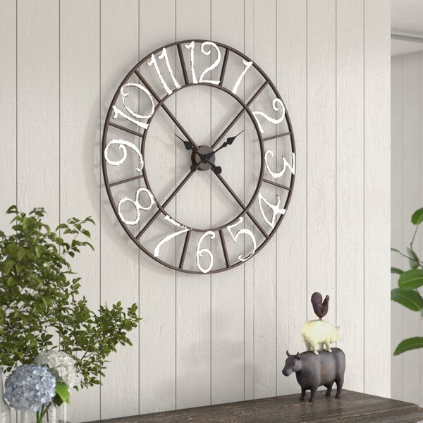 Oversized Kisner Metal 30 Wall Clock by Ophelia & Co.