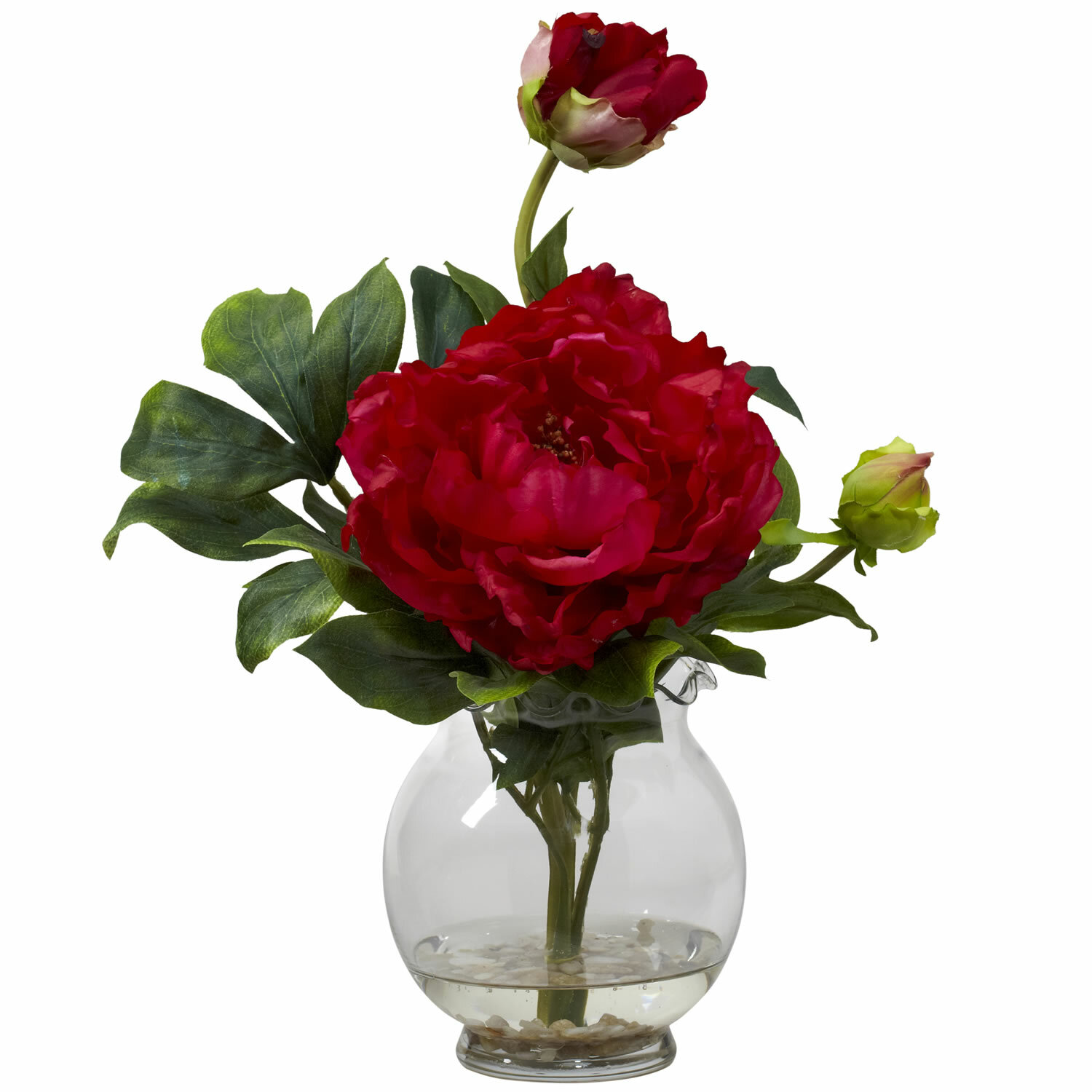 Nearly natural peony with fluted vase silk flower in red reviews nearly natural peony with fluted vase silk flower in red reviews wayfair mightylinksfo