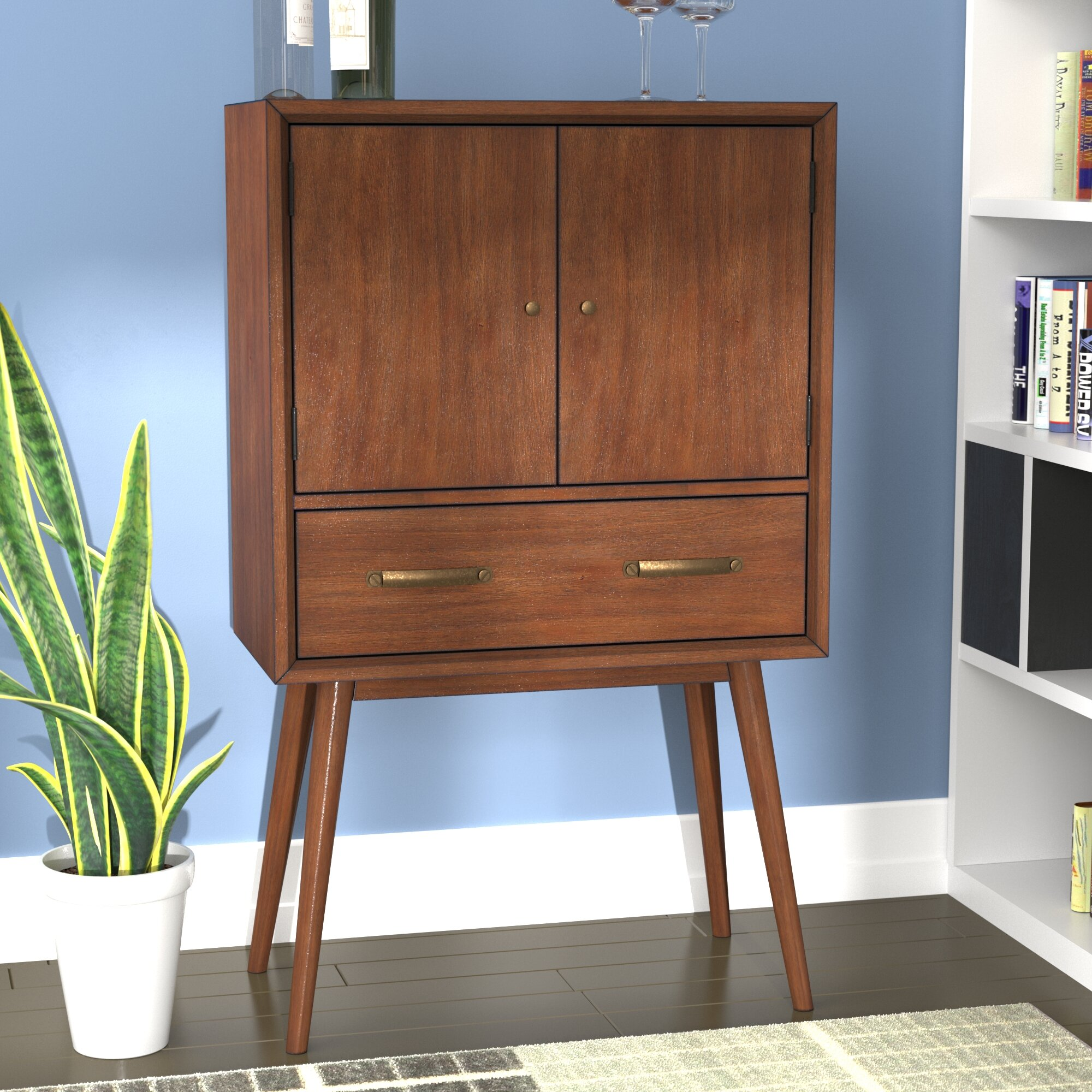George Oliver Ripton Mid Century Modern 4 Bottle Floor Wine Cabinet U0026  Reviews | Wayfair