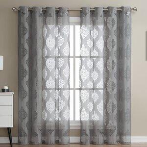 Adel Damask Sheer Grommet Curtain Panels (Set of 2)
