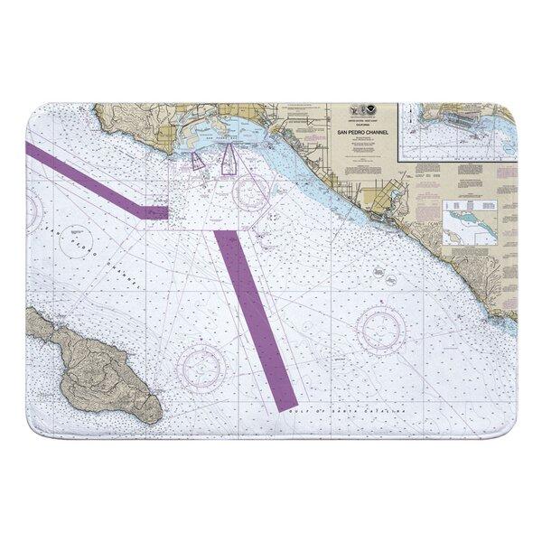 Nautical Chart San Pedro Channel CA Rectangle Memory Foam Non-Slip Bath Rug