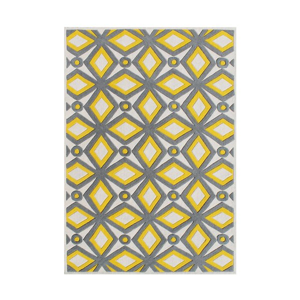 Holtzman Hand Woven Wool Yellow/Gray Indoor Area Rug by Brayden Studio