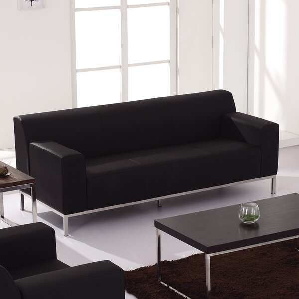 In Vogue Pyron Contemporary Leather Sofa by Latitude Run by Latitude Run