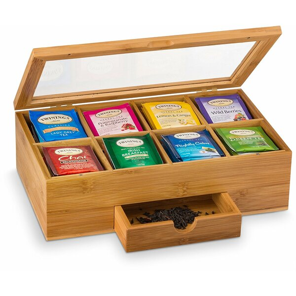 Bamboo Tea Box with 8 Storage Sections and Expandable Drawer by Belmint