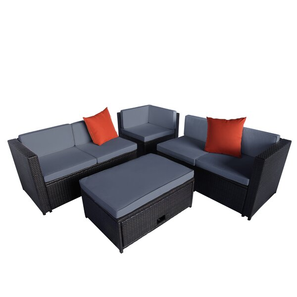 Chickamauga 4 Piece Rattan Sectional Seating Group with Cushions by Latitude Run