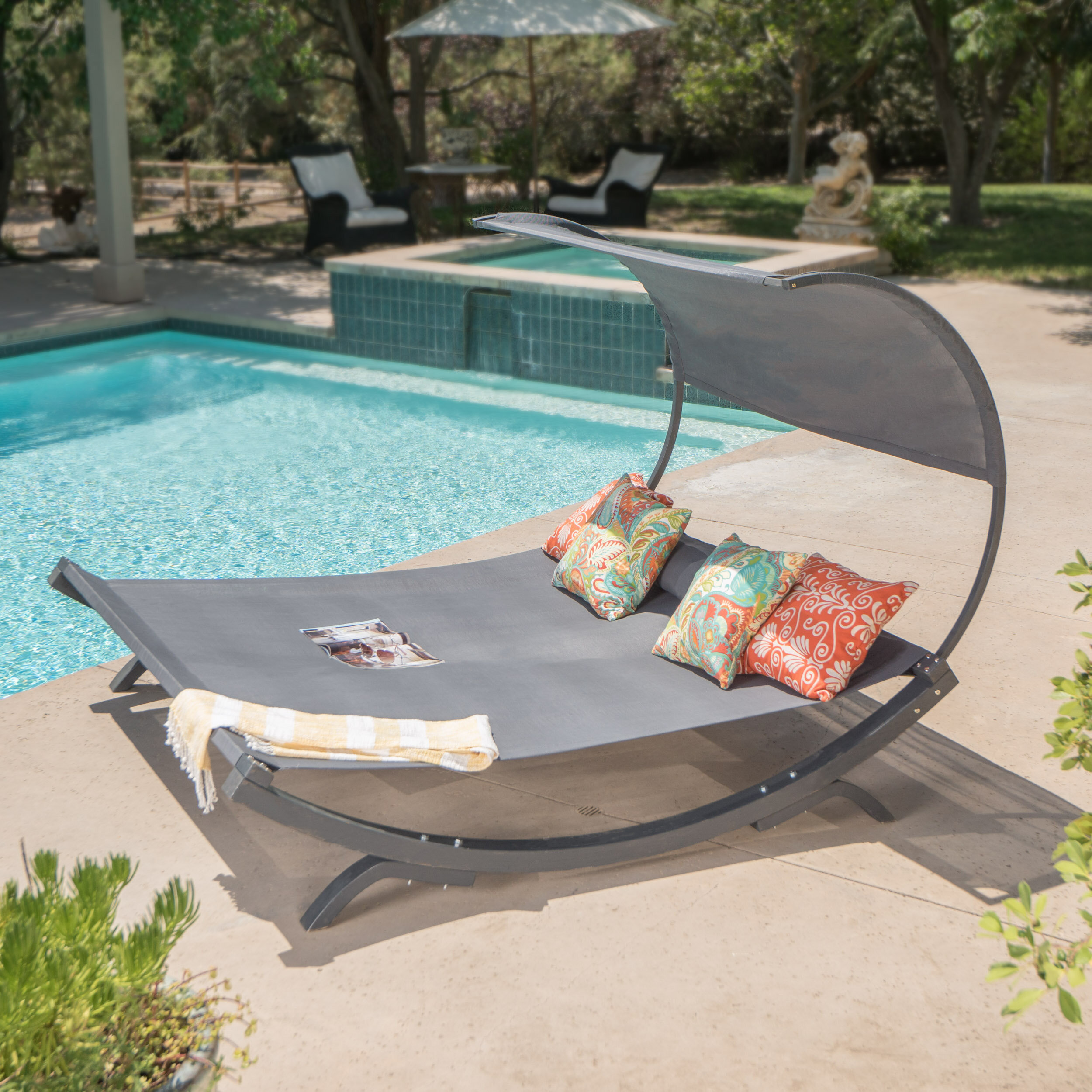 Beachcrest Home Maura Double Chaise Lounge With Cushion Reviews Wayfair