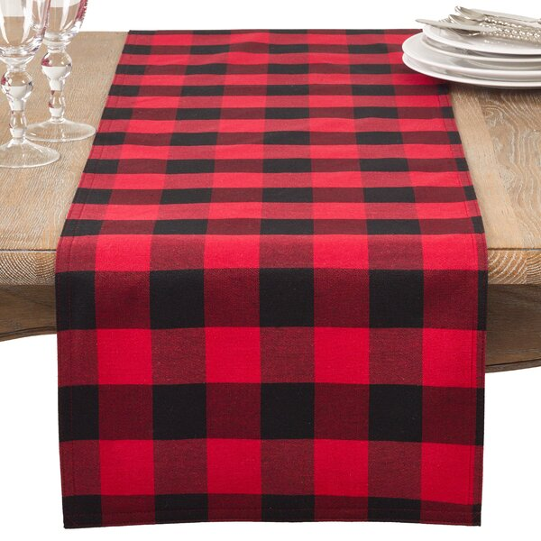 Edicott Plaid Check Classic Casual Cotton Blend Table Runner by Loon Peak