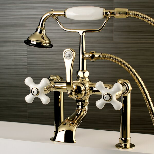 Vintage Triple Handle Deck Mounted Clawfoot Tub Faucet Trim with Diverter and Handshower by Kingston Brass Kingston Brass