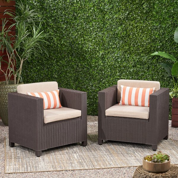 Wicker Print Patio Chair With Cushions (Set Of 2) By Breakwater Bay