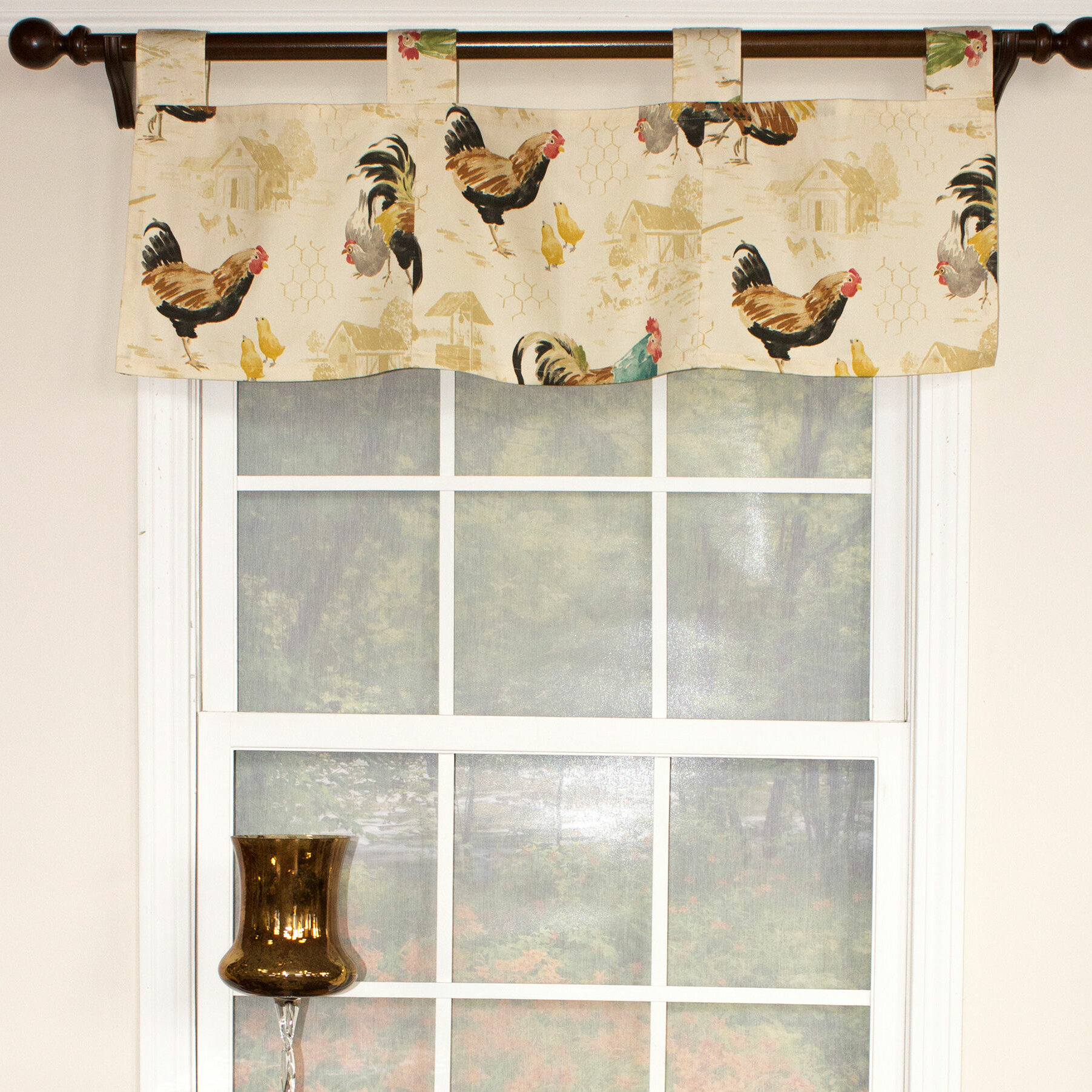 August Grove Weitzel Rooster Strut Speckle Tab Window Valance Wayfair