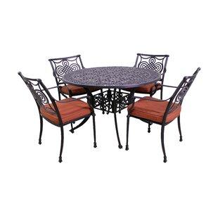 Laux 5 Piece Dining Set with Sunbrella Cushions ByBloomsbury Market