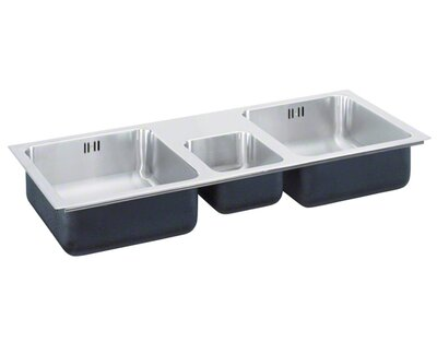 43   x 22   triple bowl drop in kitchen sink just manufacturing 43   x 22   triple bowl drop in kitchen sink      rh   wayfair com
