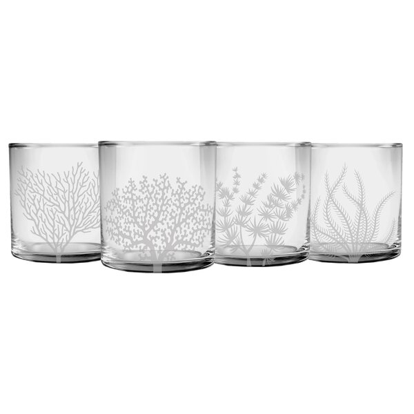 Ceniceros Coral 4-Piece Glass Assorted Glassware Set by Highland Dunes