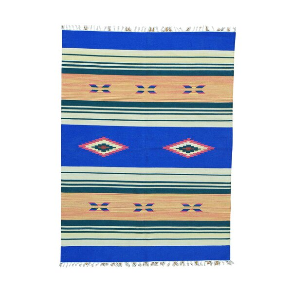 One-of-a-Kind Tonkin Flat Weave Killim Reversible Hand-Knotted Cotton Blue/Beige Area Rug by Millwood Pines