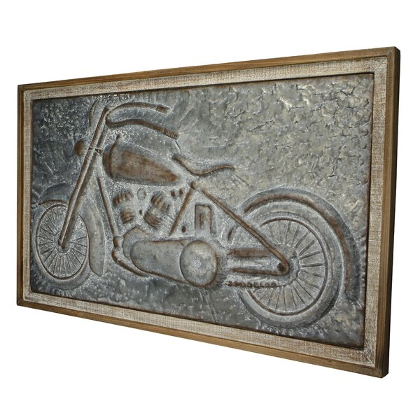 Wood Framed Metal Motorcycle Wall Décor by 17 Stories