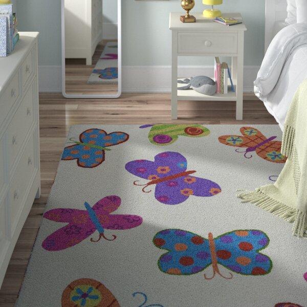 Kaylee Ivory Butterflies Area Rug by Viv + Rae