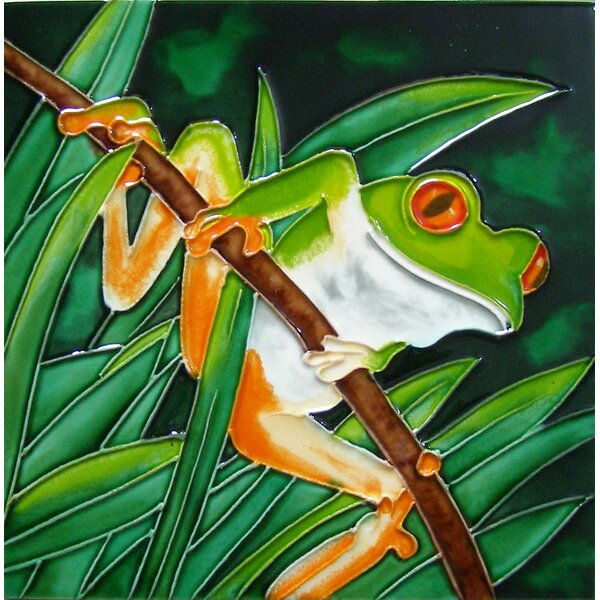 8 x 8 Ceramic Tree Frog Hanging From a Branch Decorative Mural Tile by Continental Art Center