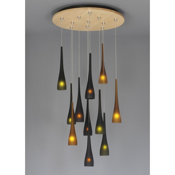 Fusion Jack Eleven Port Wood Round Canopy in Satin Nickel by LBL Lighting