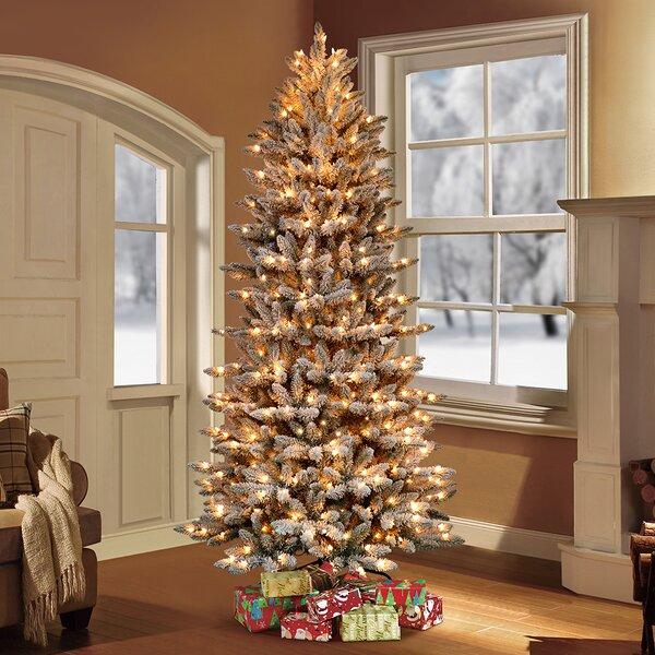 The Holiday Aisle® Pre-Lit Flocked Slim Fraser Fir ...