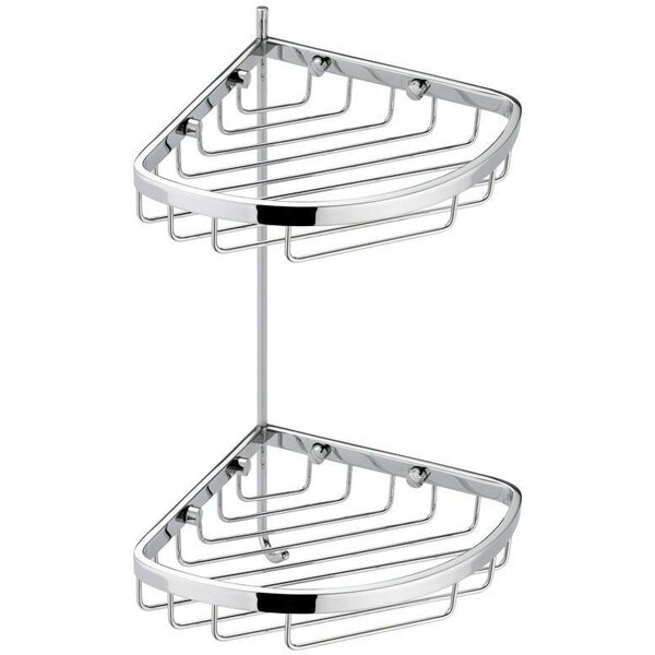 Koehler Corner Wall Mount Shower Caddy Double Shelf Organizer with Hook by Symple Stuff