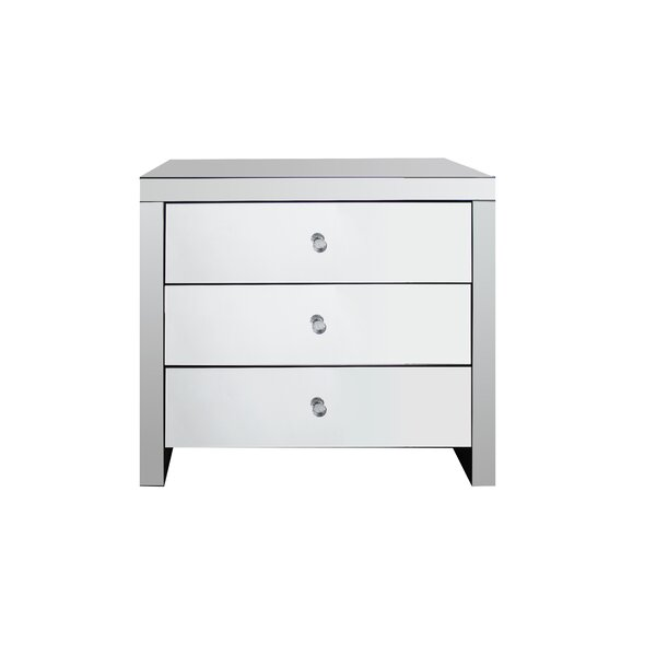 Mcclurg Stylish Mirrored 3 Drawer Nightstand (Set of 2) by House of Hampton