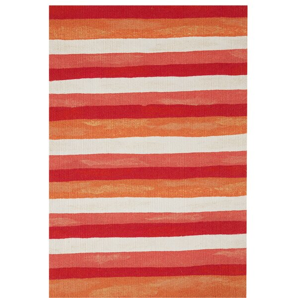 Hugo Painted Stripes Hand-Woven Red Indoor/Outdoor Area Rug by Highland Dunes