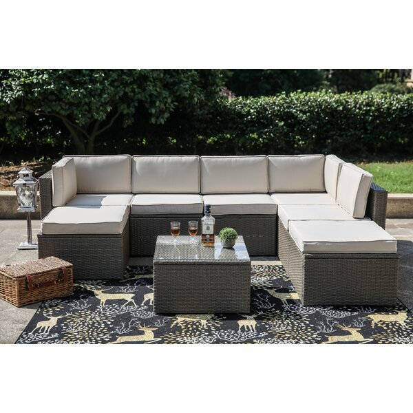 8 Piece Rattan Sectional Set with Cushions by Gracie Oaks