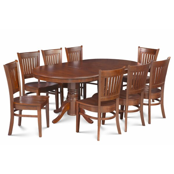 Miriam Solid Wood 9 Piece Extendable Solid Wood Dining Set by Breakwater Bay
