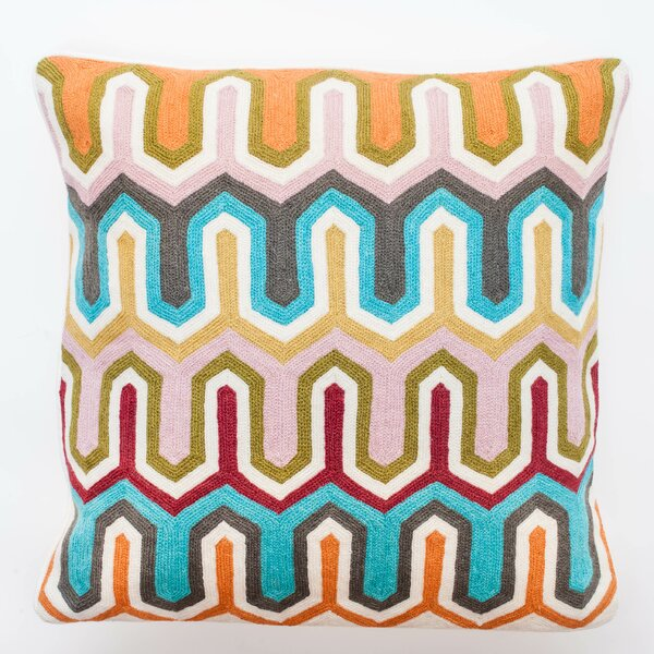 Crewel Geometric Embroidery Wool Throw Pillow by Abigails