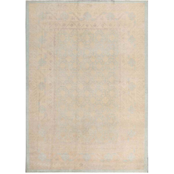 Khotan Hand-Knotted Wool Gray/Ivory Area Rug by Pasargad NY
