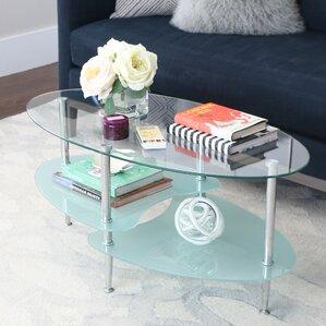 Efraim Glass Oval Coffee Table
