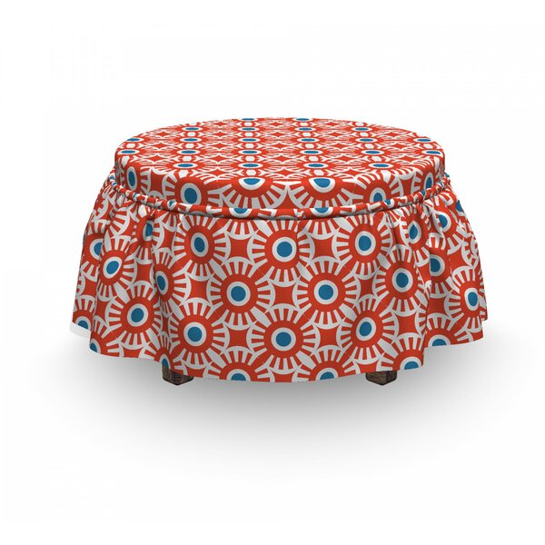 Vivid Mosaic Of Circles Ottoman Slipcover (Set Of 2) By East Urban Home