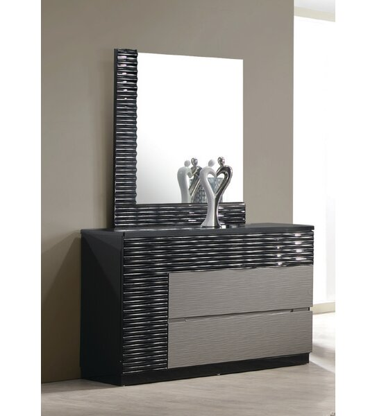 Kahlil 2 Drawer Dresser with Mirror by Orren Ellis