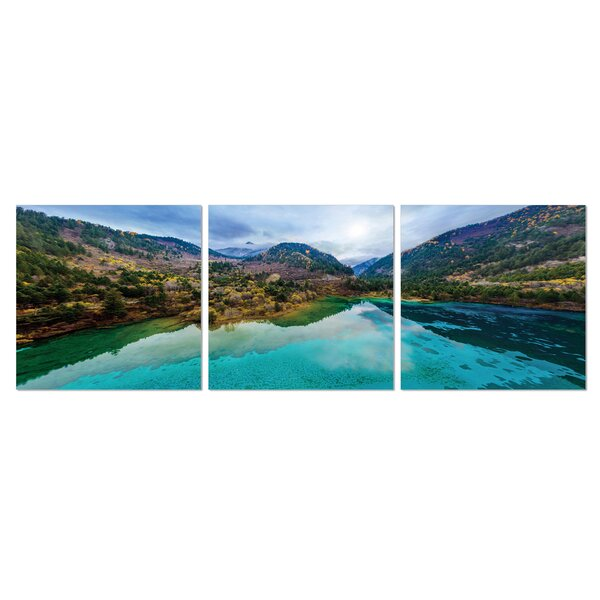 JiuZhai Valley 3 Piece Photographic Print Set by Furinno