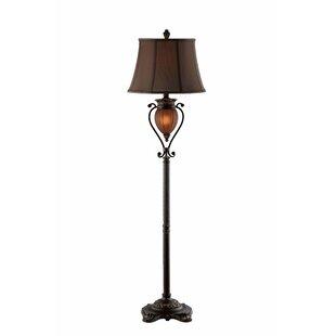 Inexpensive Oakham Ribbed Glass Pendant Floor Lamp By Fleur De Lis Living