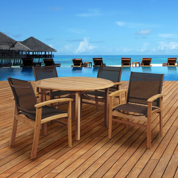 Cusack 5 Piece Teak Dining Set by Mercury Row