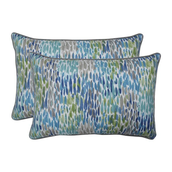 Greco Make It Rain Cerulean Indoor/Outdoor Lumbar Pillow (Set of 2)